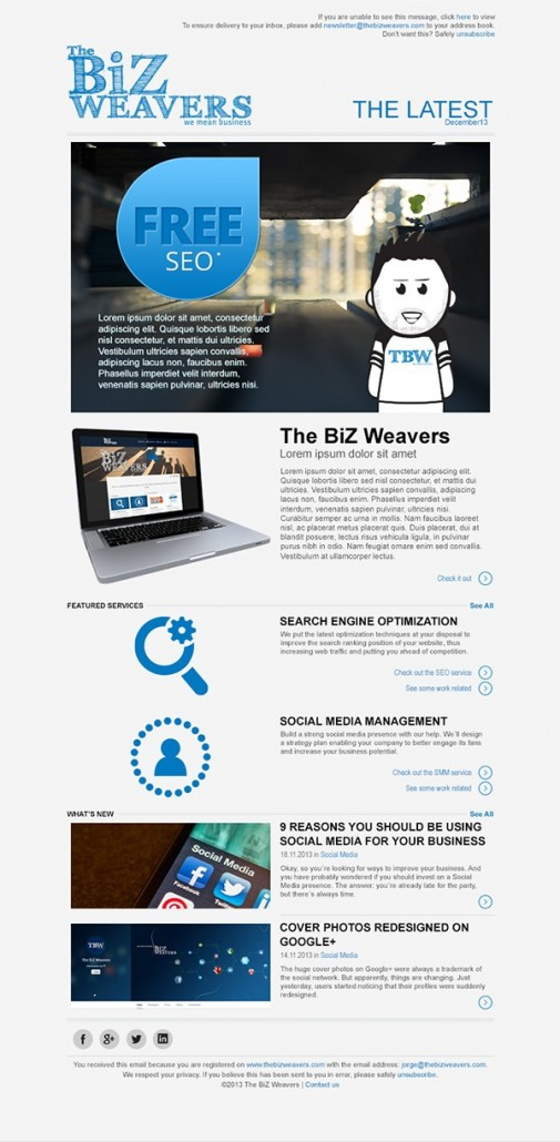 The BiZ Weavers newsletter layout