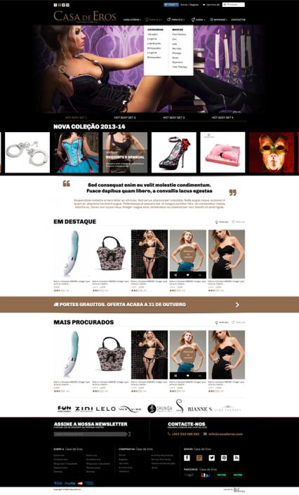 Casa de Eros | Layout homepage