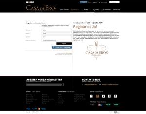 Casa de Eros | Layout página registo