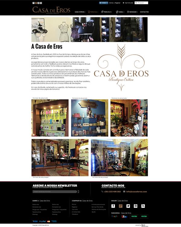 Casa de Eros | Layout página sobre nós