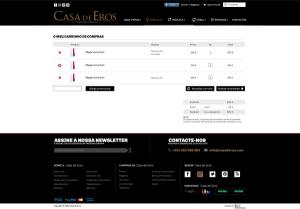 Casa de Eros | Layout página carrinho