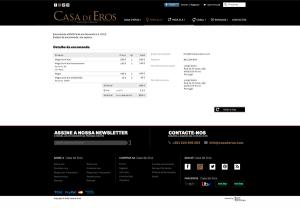 Casa de Eros   Layout página detalhe da encomenda