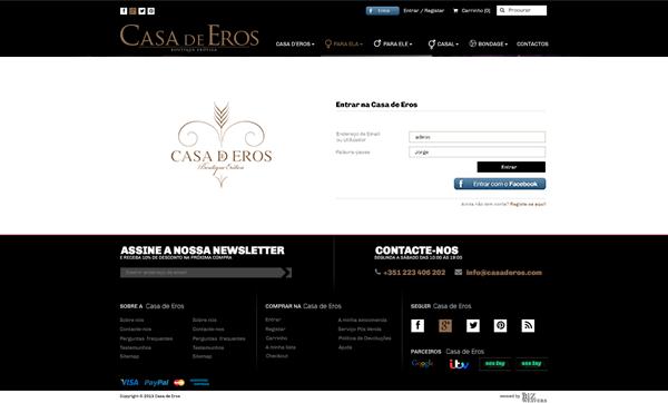 Casa de Eros | Layout página entrar